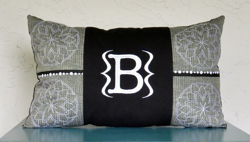 Custom Made Menswear-Inspired Monogrammed Pillow