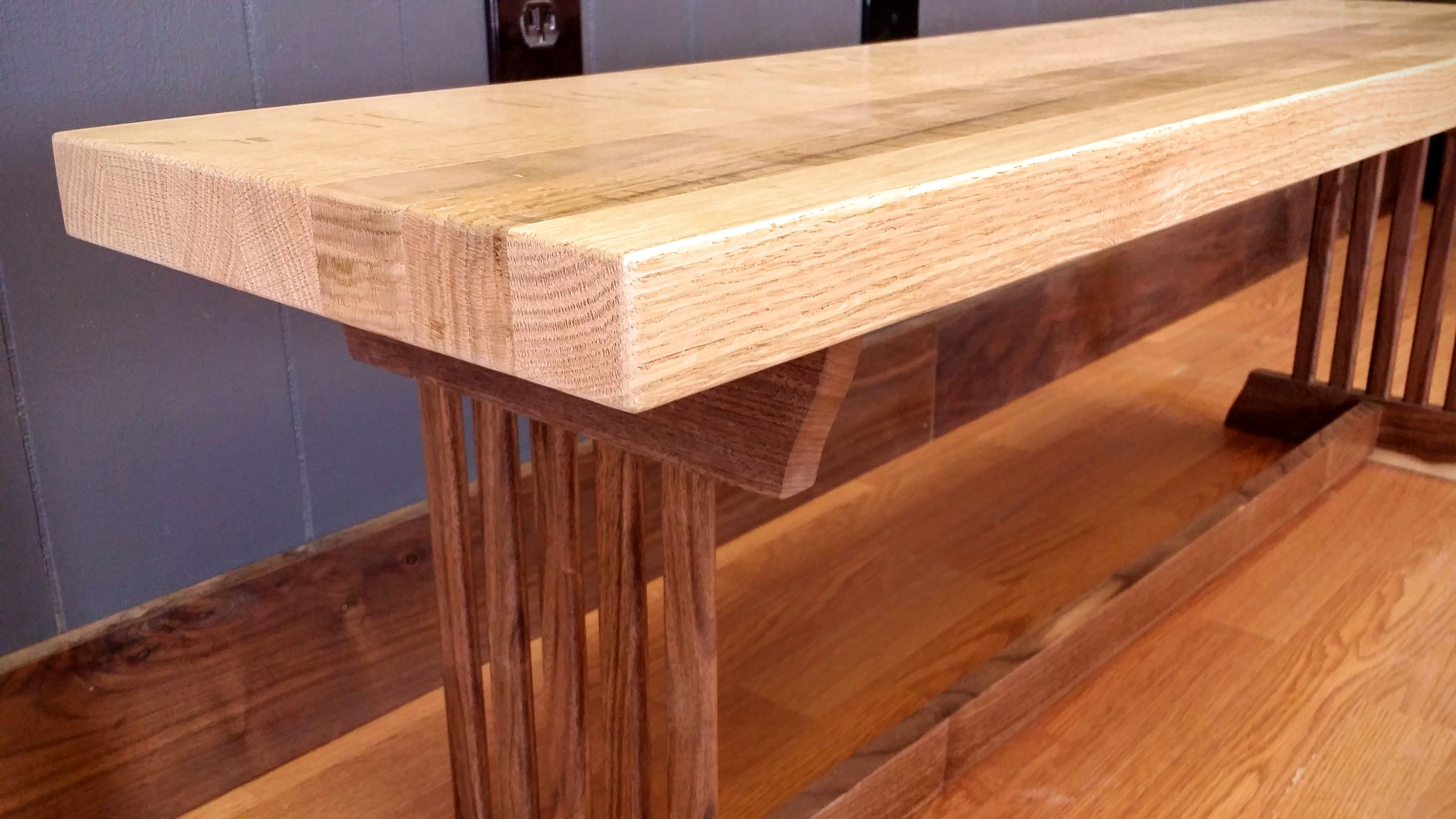 Custom Made Modern Mission Style Bench Pickled Oak And Black Walnut