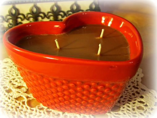 Custom Made Soy Heart Candle, Red, Chocolate Scented, Three Wick, 6 Ounces, Valentine's Day