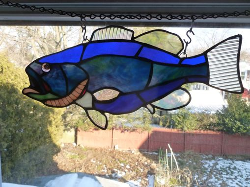 Custom Made Blue And Purple Stained Glass Large Mouth Bass