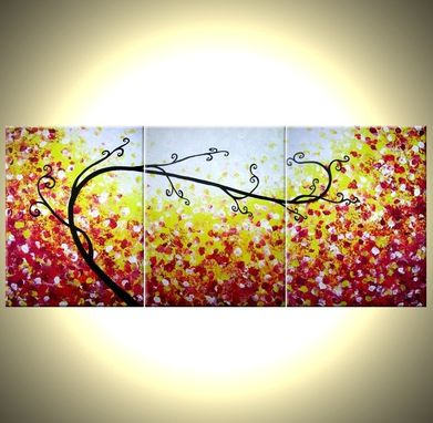 Custom Made Abstract Tree Original Red Landscape Painting By Dan Lafferty - 24 X 54 - One Day Sale 22% Off
