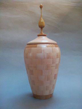 Custom Made Maple With Cherry Accent Rings Segmented Decorative Hollow Form Vase