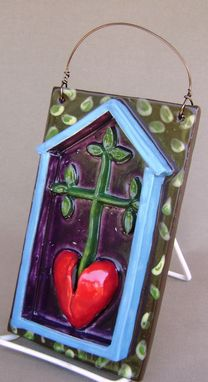 Custom Made Clearance, 25 Percent Off. Heart Cross Tree Ceramic Plaque