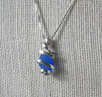 Custom Made Argentium Silver Wire Wrapped Necklace With Cornflower Blue Sea Glass
