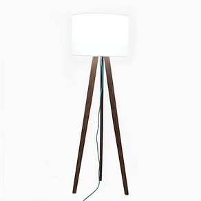 Custom floor lights custommade solid walnut mid century modern tripod floor lamp with teal cord by robert william aloadofball Images