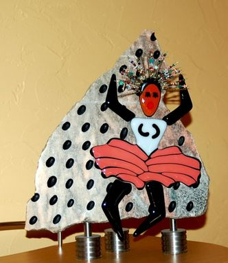 "Custom Made Marble Sculpture With Fused Glass Elements - ""Pink Flamenco"""