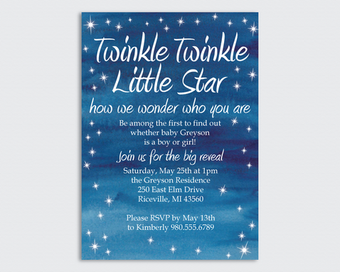 Custom Made Gender Reveal Party Invitation- Twinkle Twinkle Little Star