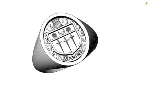 Custom Made A 2 Metal Ring With Our Family Crest To Be Used As A Gift For Family Members