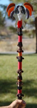 Custom Made Fused Glass Magical Fairy Wand - Orange, Black, Red, Gray