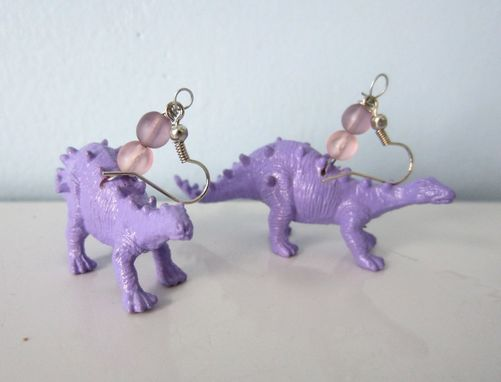 Custom Made Upcycled Earrings Made From Toy Dinosaurs - Purple Stegosaurus