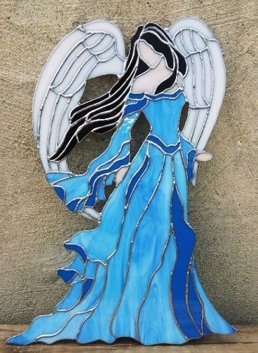 Hand Made Stained Glass Panel Lady Angel D 6 By