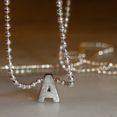 Custom Made Personalized Tiny Silver Matte Initial Necklace