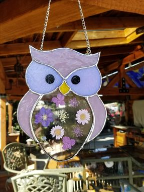 Custom Made Stained Glass Bat, Owl, Character With Dried Flowers
