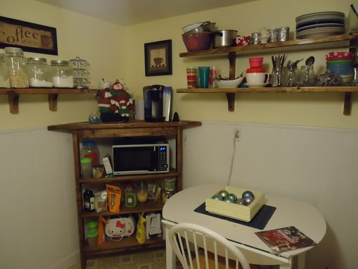 Custom Made Rustic Kitchen Corner Shelf And Microwave Stand