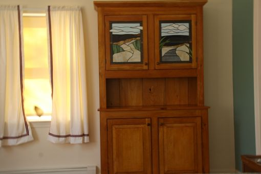 Custom Made Shaker Style Pine Cupboard With Stained Glass Panels