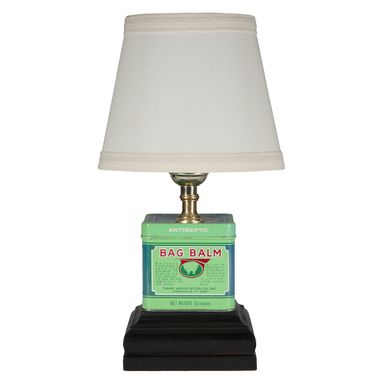 Custom Made Mini Green Square Metal Table Lamp