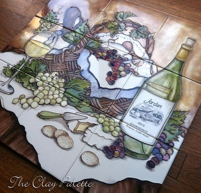 Custom Made Hand-Painted Chardonnay Tile Backsplash