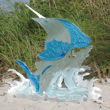 "Custom Made Fused, Carved, And Etched Glass ""Sail Fish"""