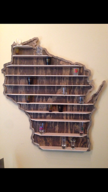 Custom Made State Shot Glass Shelf