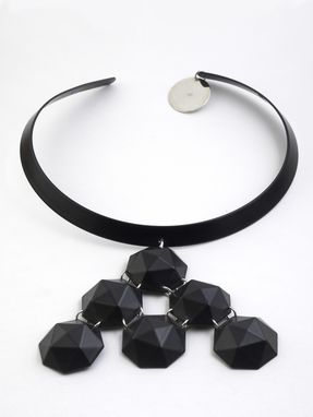 Custom Made Black Hand Crafted Enameled Necklace