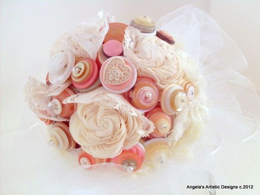 Custom Made Cream, Pink, And White Buttons Bridal Bouquet