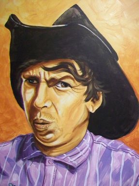 Custom Made Acrylic On Board Portrait For A Mural: Cowboys 14