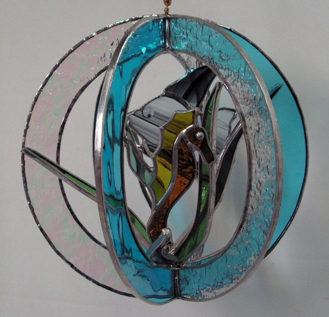 Hand Crafted Stained Glass Fish And Seahorse Whirl