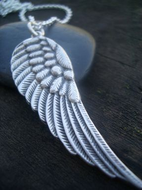 Custom Made Hand Stamped Large Angel Wing Necklace In Sterling Silver