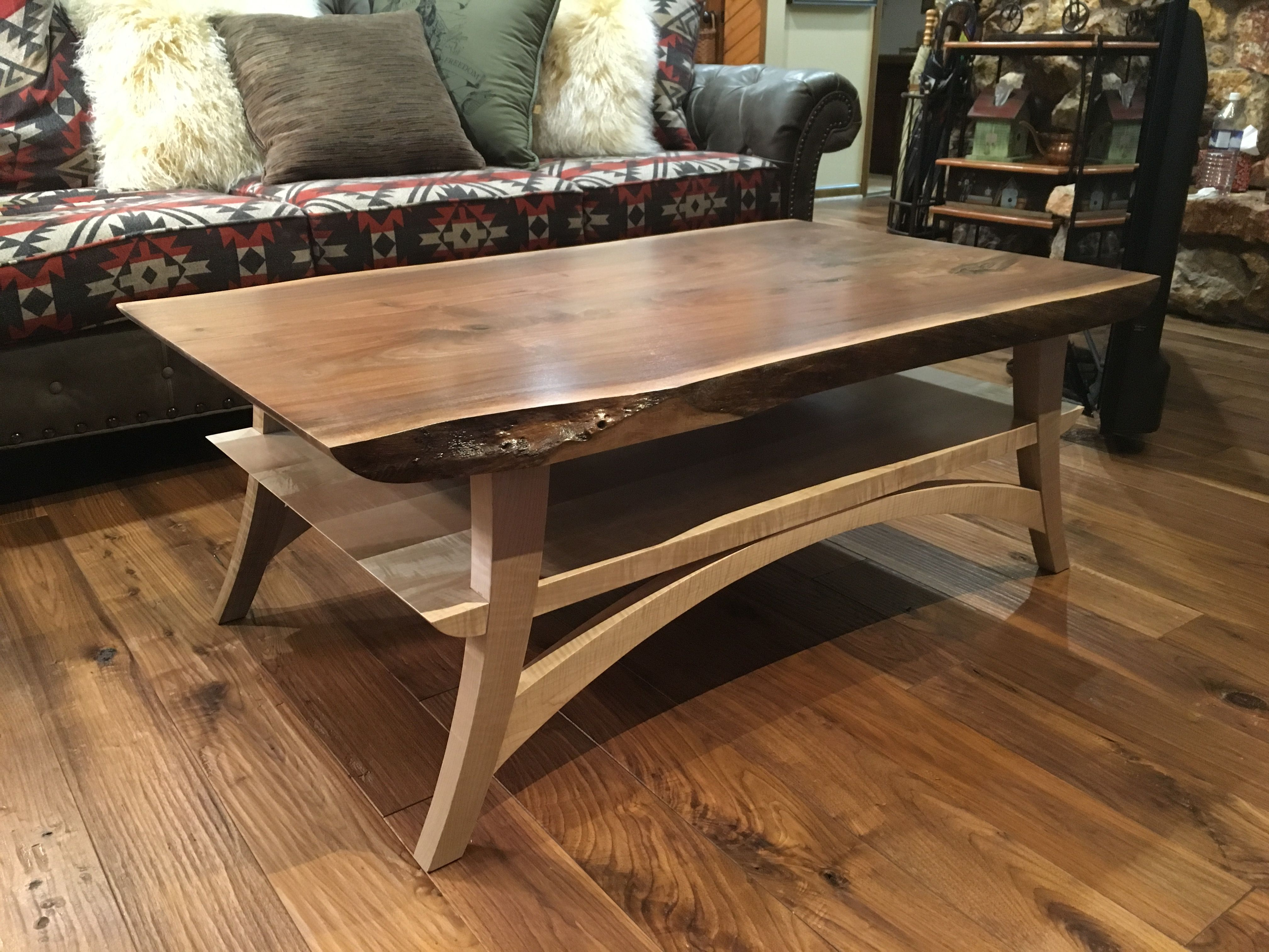 Hand Crafted Curly Maple And Walnut Live Edge Coffee Table