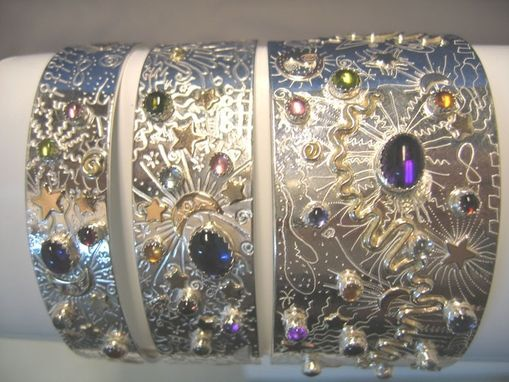Custom Made Sterling Silver And 14k Gold Fill Cuff Bracelets- Three Sizes