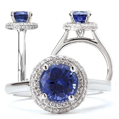 Custom Made 18k Created 7mm Round Blue Sapphire Engagement Ring With Natural Diamond Halo