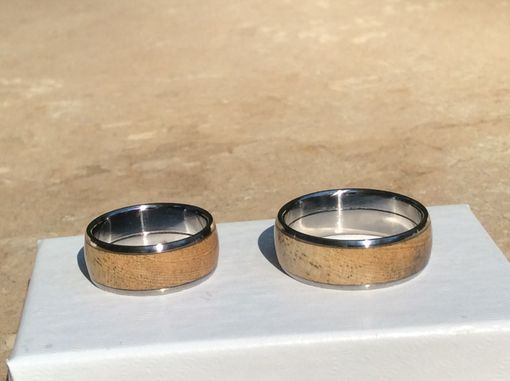 Custom Made Solid Titanium Wood Inlay Rings