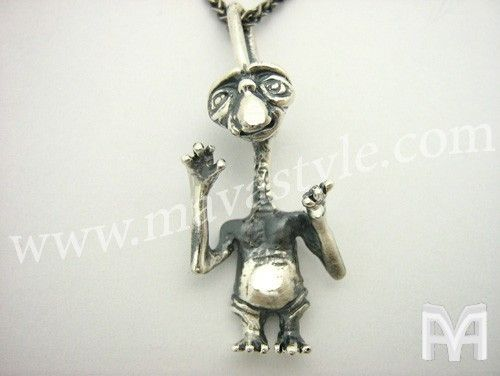 Custom Made Sterling Silver E.T. The Extra-Terrestrial Pendant