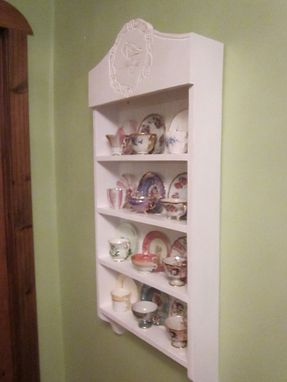 Custom Made Tea Cup Shelf. Collectors Shelf, 12 Cup Cardinal Pattern