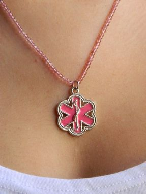 Custom Made Breast Cancer Vital Voice Jewelry Med Id Necklace