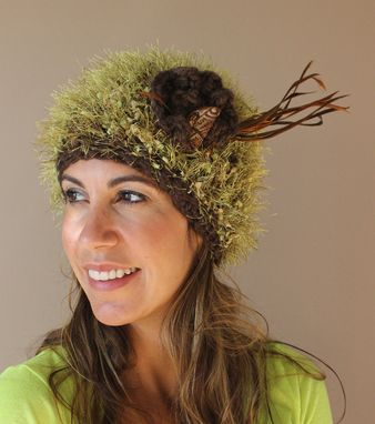 Custom Made Sold ~ Green Fuzz, Fiber Art, Crochet Hat ~ Sold