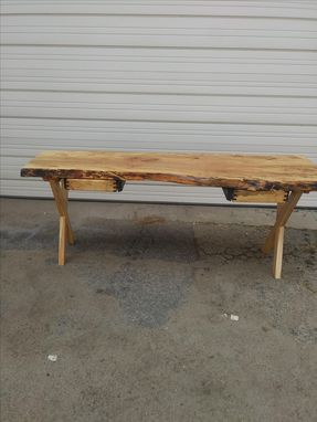 Custom Made Live Edge Spalted Maple Desk With Wooden X Base And 2 Drawers