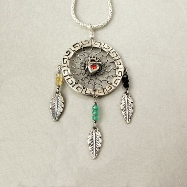Custom Made Sterling Silve And Gemstone Dreamcatcher Pendant