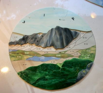 Custom Made Medicine Bow Peak Mountain Stained Glass Panel