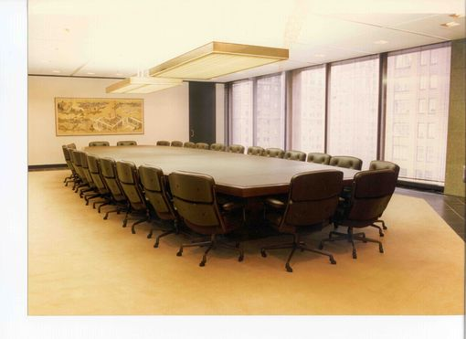 Custom Made Leather Wrapped Conference Room Table