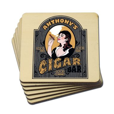 Custom Made Custom Cigar Bar Wood Coasters, Set Of 4