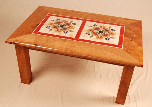 Custom Made Mesquite Red Tile Table