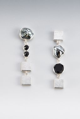 Custom Made Earrings - Sterling Silver, Faceted Onyx, Tahitian Keshi Pearl