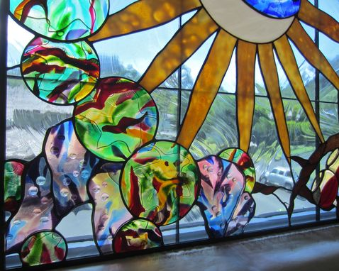 Custom Made Stained Glass And Fused Glass Skylight With Wine Theme- Brother Sun, Sister Moon