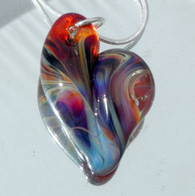 Custom Made Heart Necklace Glass Jewelry Purple Passion Silver