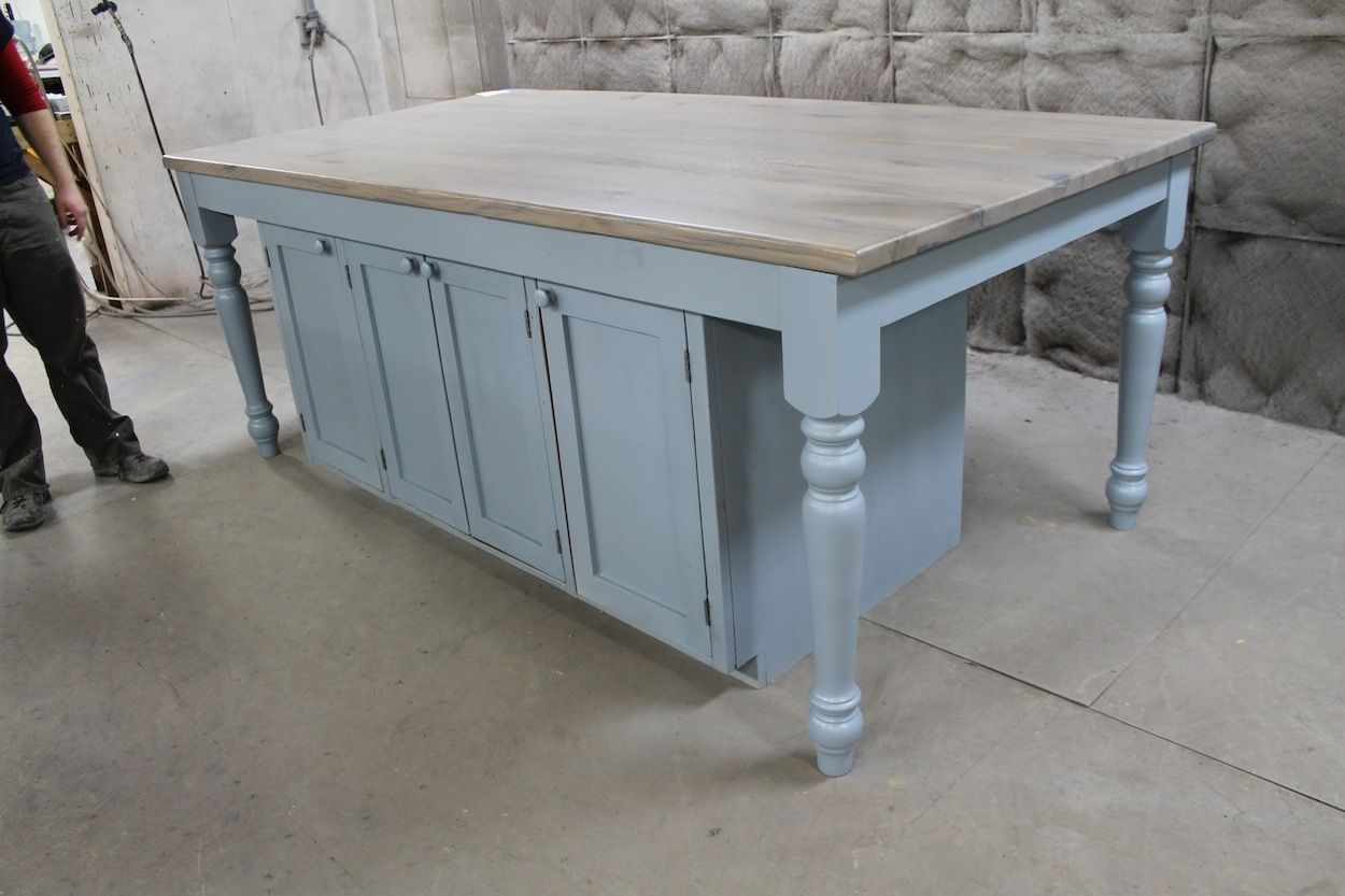 Hand Crafted Custom Light Blue Oak Kitchen Island by ECustomFinishes ...