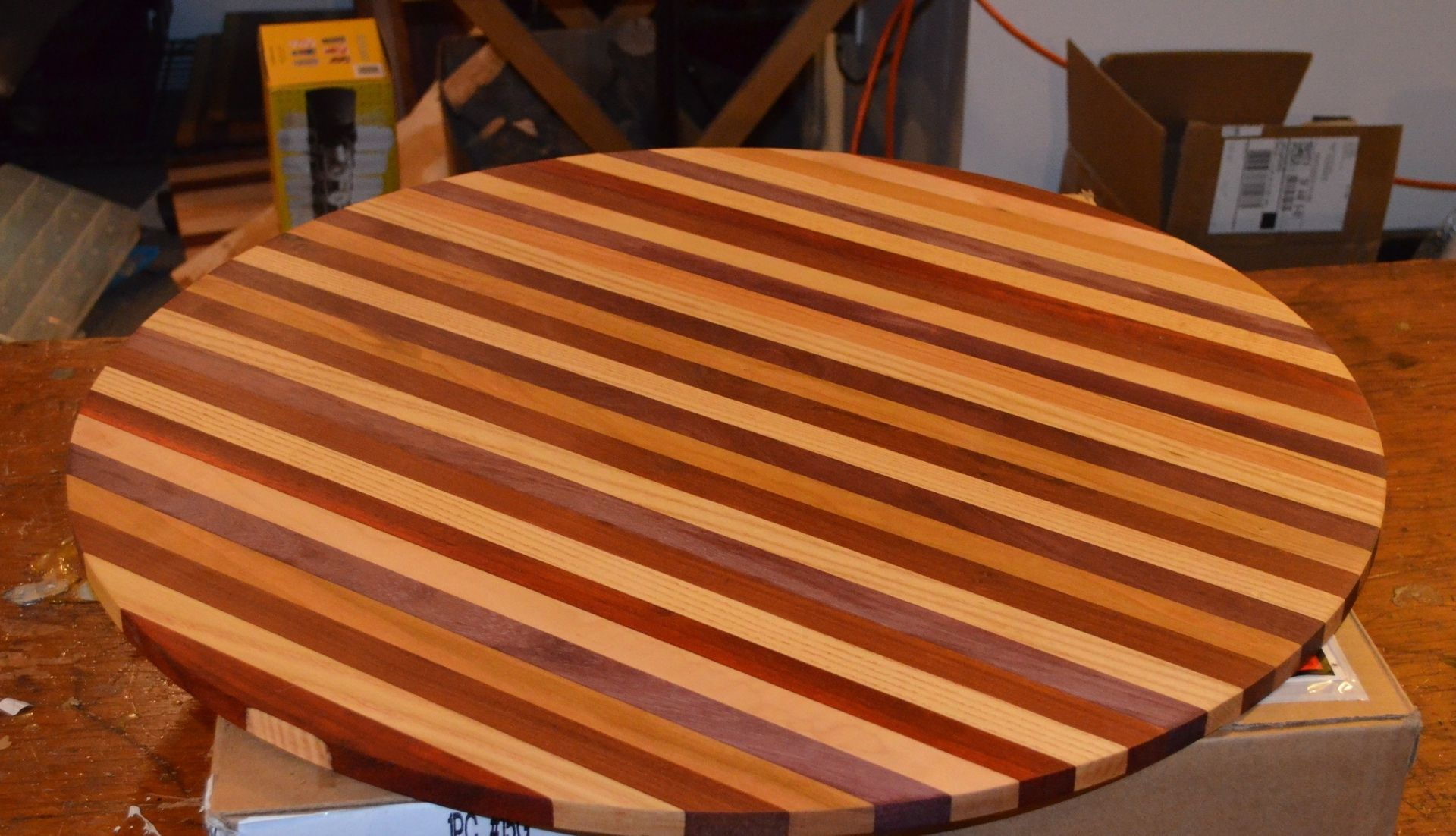 Hand Crafted Butcher Block Table Top For Wine Barrel by
