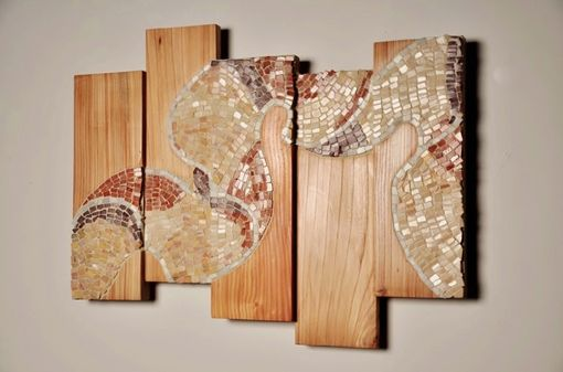 Custom Made Mosaic Inlaid On Elm Wood