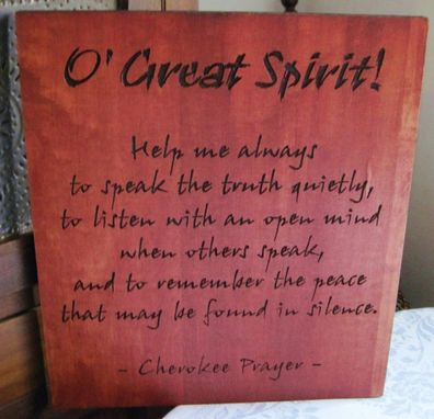 Custom Made Handmade Wood Carved Cherokee Prayer Native American Wall Hanging