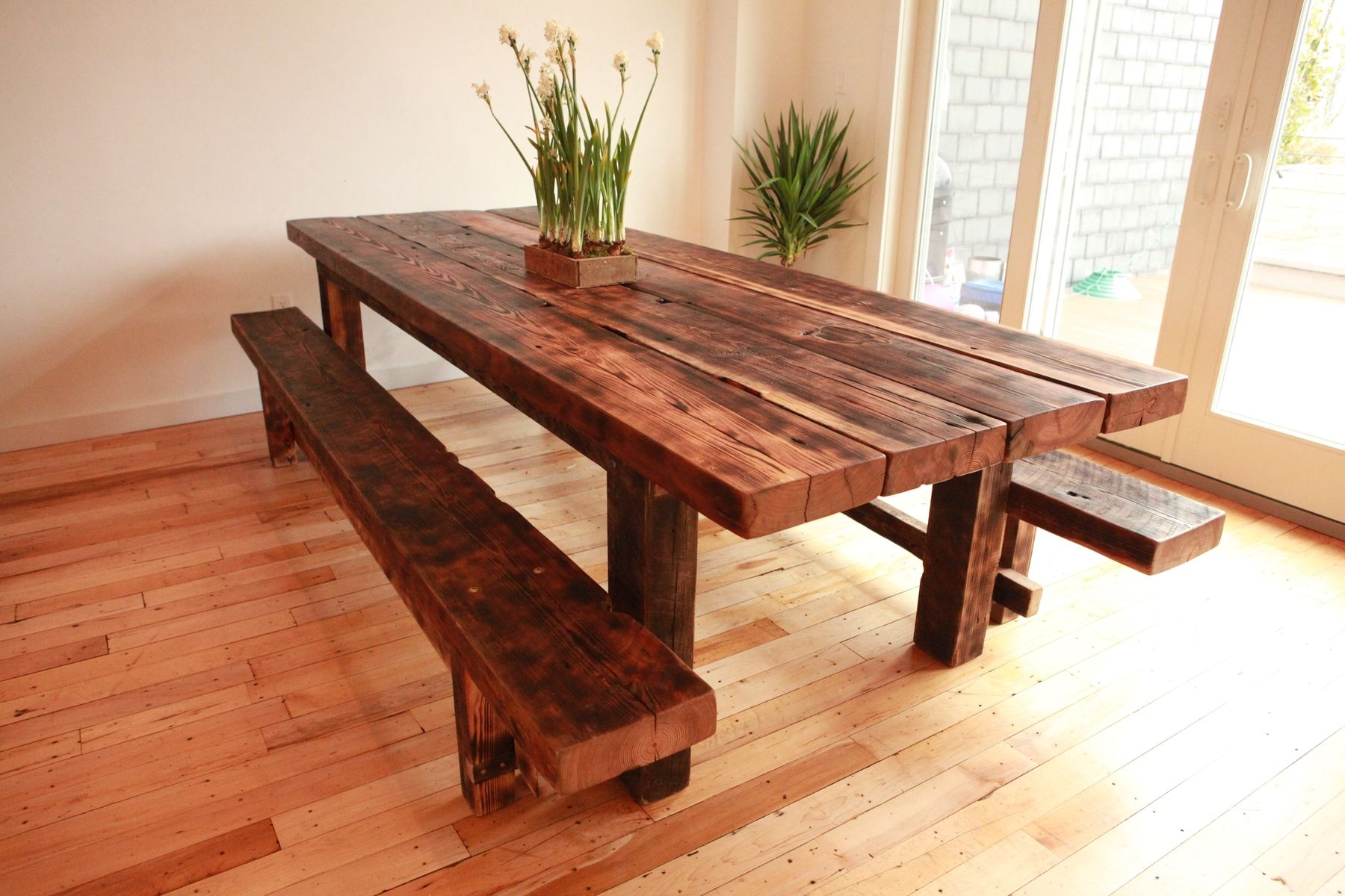 Handmade Custom Farmhouse Dining Table And Benches For ...